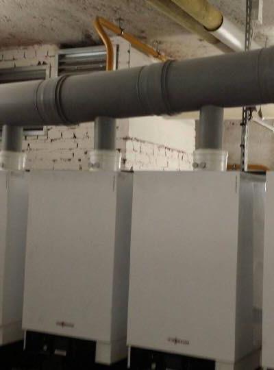 Maintenance d'une installation de 6 chaudières en cascade de 100kw chacune à Enghien-les-bains. Installation réalisée en 2014.